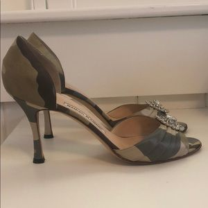Manolo Blahnik Camouflage Embellished Heels.